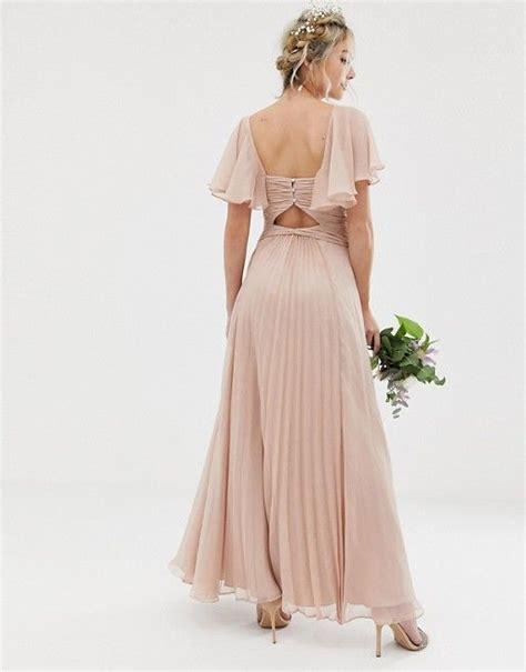 Asos Design Bridesmaid Pleated Bodice Maxi Dress With