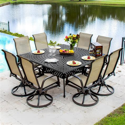 8 person patio table madison bay 8 person sling patio dining set with swivel