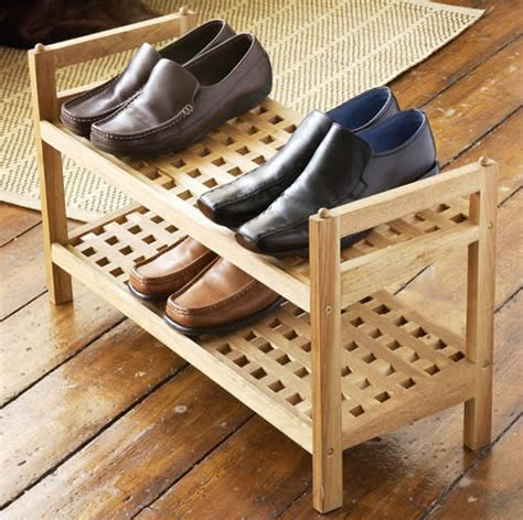 store walnut wooden shoe rack stacking