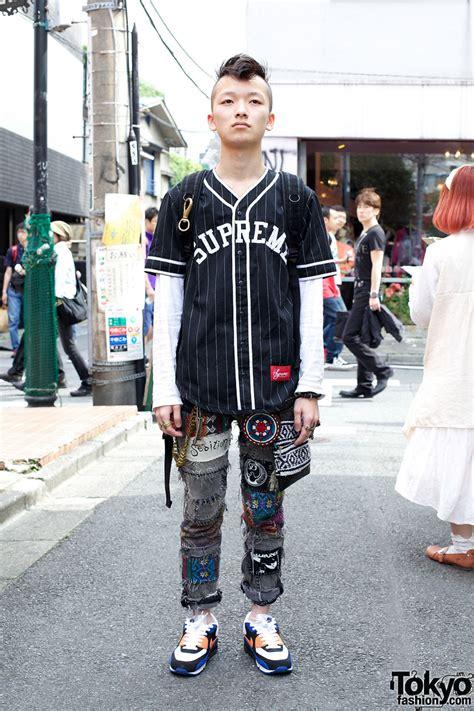 mohawk hair supreme baseball shirt handmade patched jeans