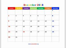 December 2018 Calendar Cute calendar monthly printable