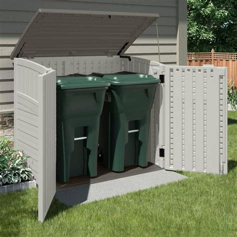 White Garbage Shed by Garbage Can Storage Shed Plans Image Mag