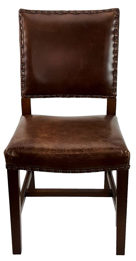 quot antique brown leather dining room chair quot