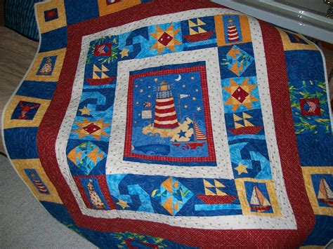 Lighthouse Quilt Nautical Throw Whale Sailboat Star Fish