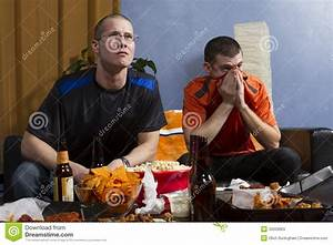 Two Anxious While Watching Sports Game On TV, Vertical ...