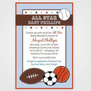 sports themed baby shower invitation card design with With sports baby shower invitations templates
