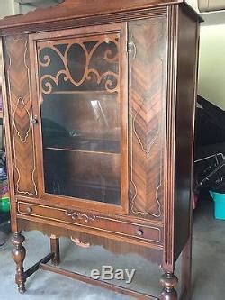 antique china cabinethutch  glass door  drawer