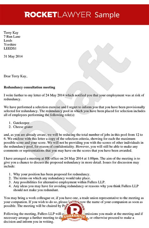 redundancy consultation letter arrange  redundancy