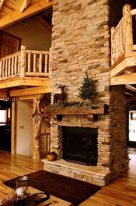 Rustic Log Cabin Fireplaces