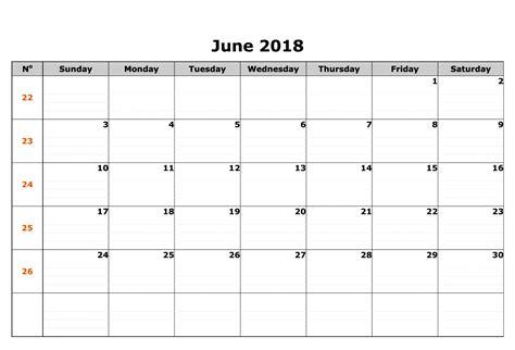 2018 word calendar june 2018 calendar word printable