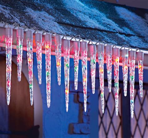 multi colored icicle string lights home