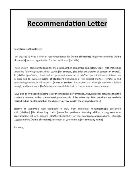 letter for recommendation 43 free letter of recommendation templates samples