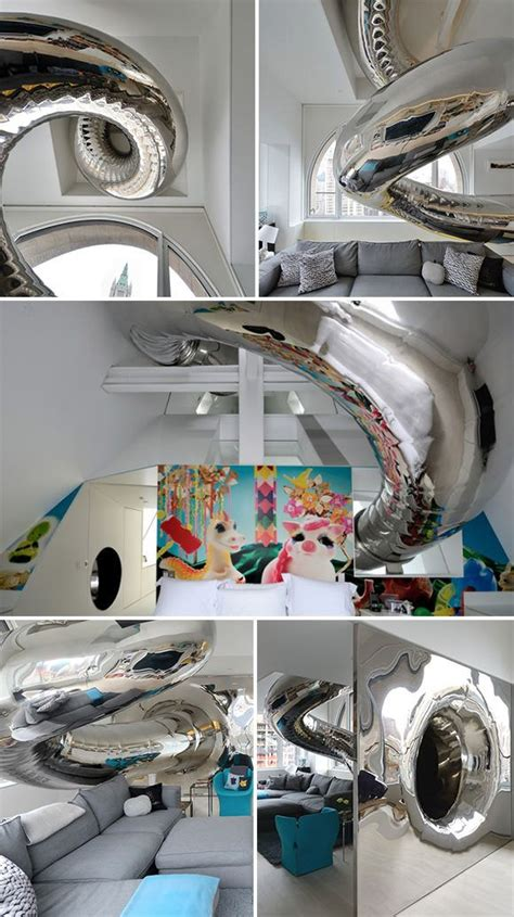 Skyhouse An Amazing New York Penthouse With Rock Climbing Column Tubular Slide by Climbing The Walls Rooms To Live In Indoor Slides