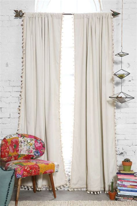 urban outfitters curtain rods and pom pom trim on pinterest