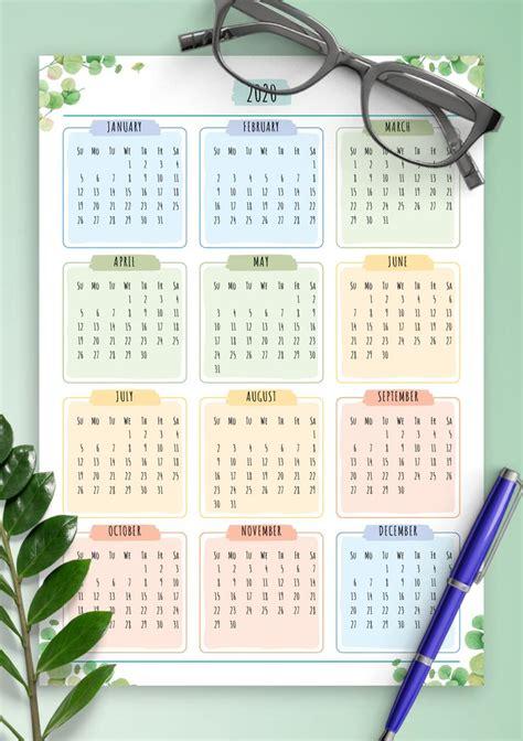 yearly calendar floral style    dicetak