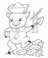 Pigs Coloring Three Pages Sheets Brick Printable Pig sketch template