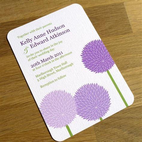 purple flower wedding invitation allium design