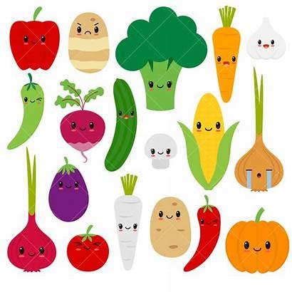 Clipart Vegetables Vegetable Happy Clip Veggies Kawaii