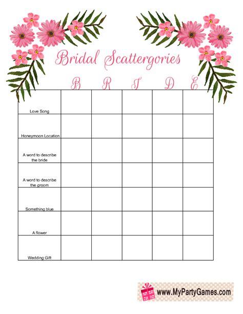 Bridal Shower Scattergories Free Printable Game