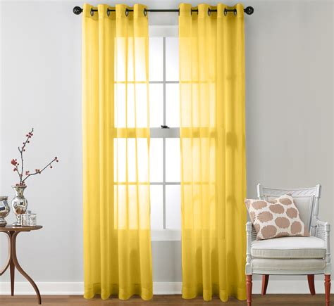 yellow sheer curtains 2 sheer window curtain grommet panels ebay