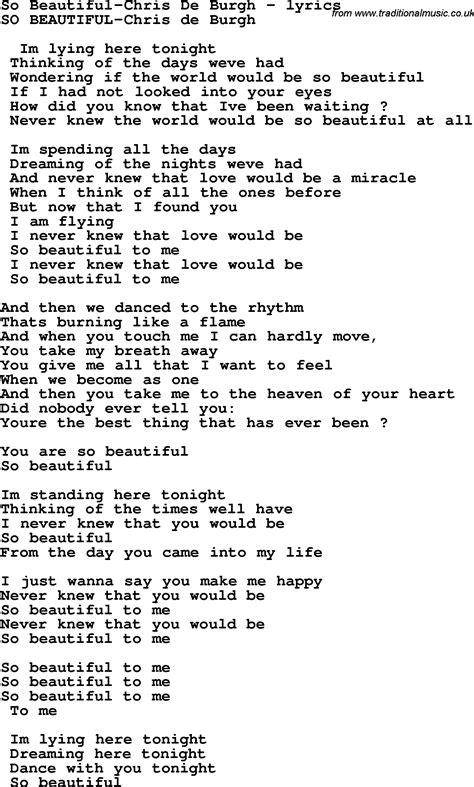 love song lyrics forso beautiful chris de burgh