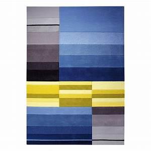 Tapis split bleu et jaune esprit home 70x140 for Tapis bleu et jaune