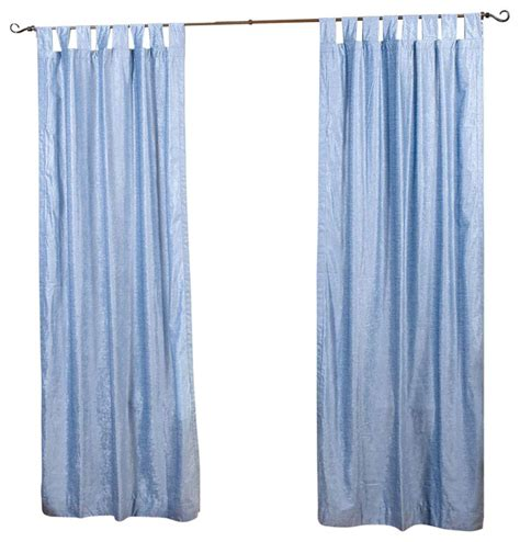 light blue tab top velvet curtain drape panel 80 quot x120