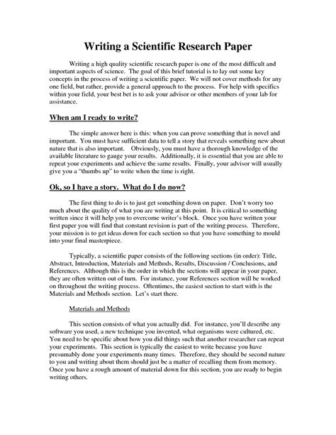 scientific paper template research paper format introduction methods