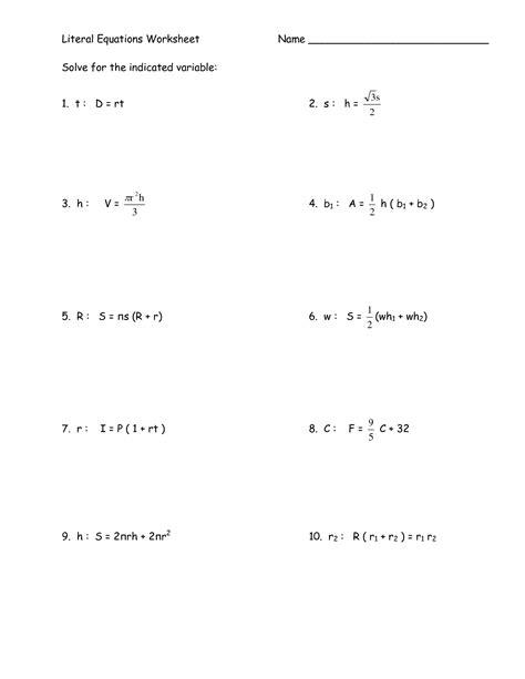 solving literal equations worksheet 14 best images of algebra 1 step equations worksheets