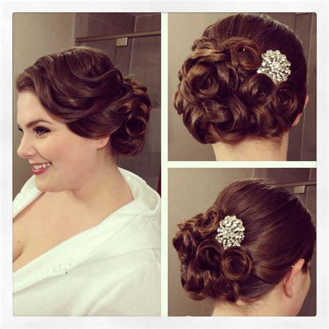 vintage side updo vintage hairstyle curls bridal