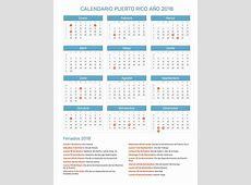 Calendario Puerto Rico Año 2018 Feriados