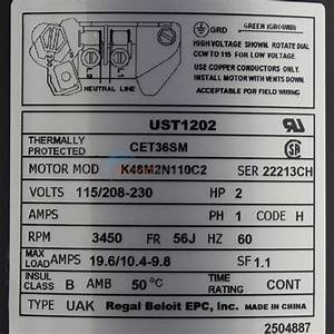 A O  Smith 2 Hp Round Flange 56j Up Rate Motor