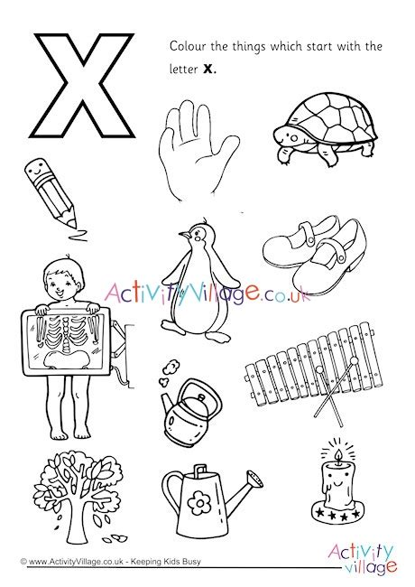 start with the letter x colouring page