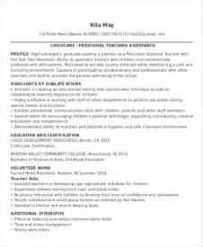 resume sle for preschool assistant 25 resume formats free premium templates