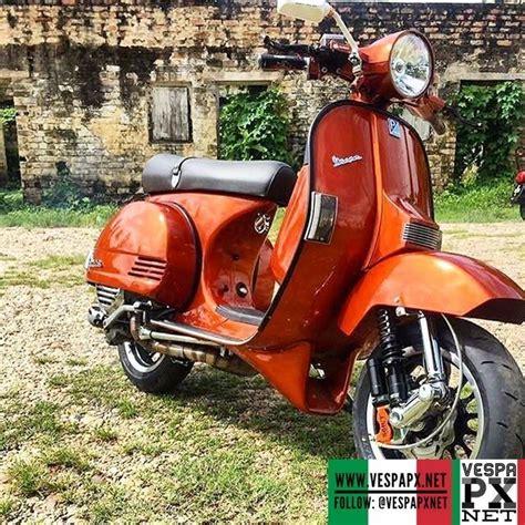 orange modified vespa px racing style msc scooter vespa px