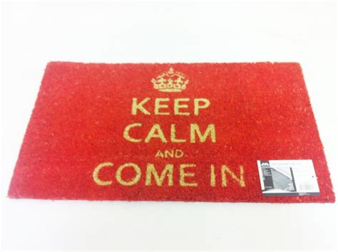 Keep Calm & Come In Coir Pvc Backed Door Mat Red Entrance