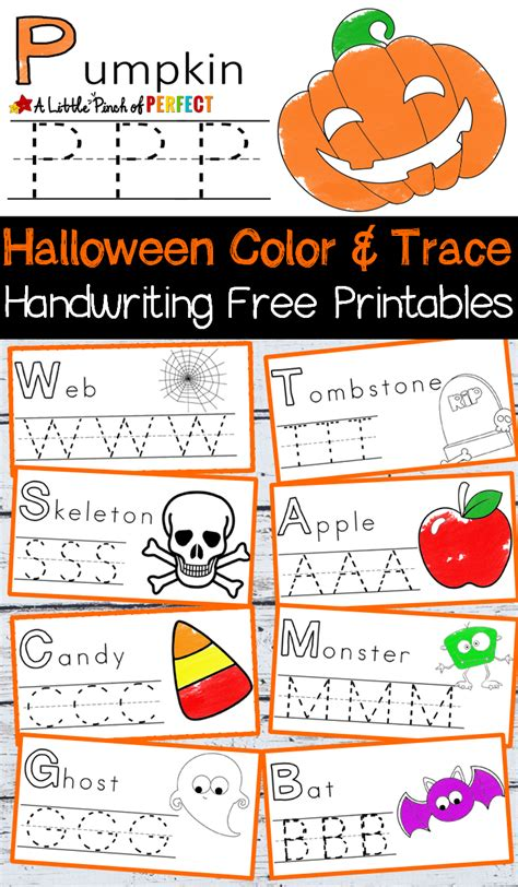 halloween handwriting  coloring  printables