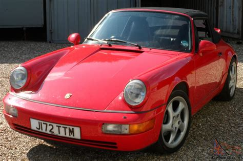 convertible porsche red porsche 911 carrera 4 964 convertible 1992 bright red