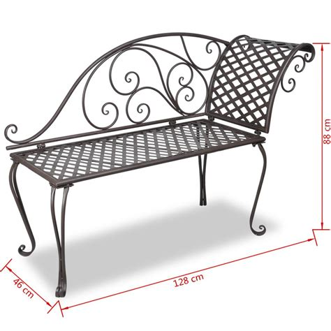 chaises métal vidaxl metal garden chaise lounge antique brown scroll