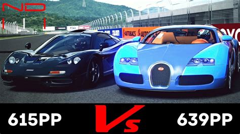 The veyron definitely could have owned that race from beginning to end. (GT6) McLaren F1 '94 vs Bugatti Veyron 16.4 '09 - Fuji Speedway F - YouTube
