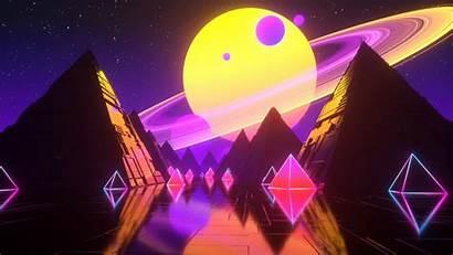 4k Vaporwave Pyramid Planet Space Stars Background