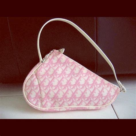 dior bags christian pink  white logo saddle bag