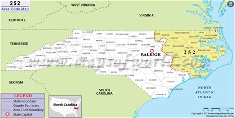 252 Area Code Map, Where Is 252 Area Code In North Carolina