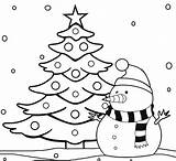 Tree Christmas Coloring Pages Snowman sketch template