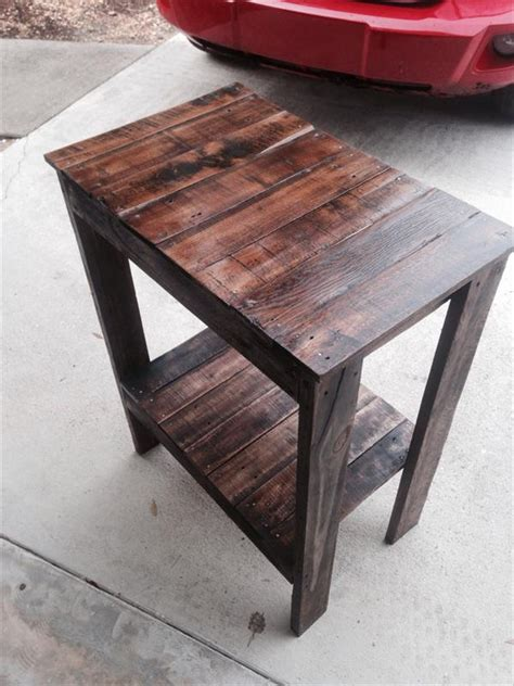 diy wood end table diy repurposed pallet end table pallet furniture plans