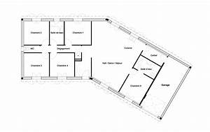 plan maison v garage With plan maison 120m2 4 chambres garage