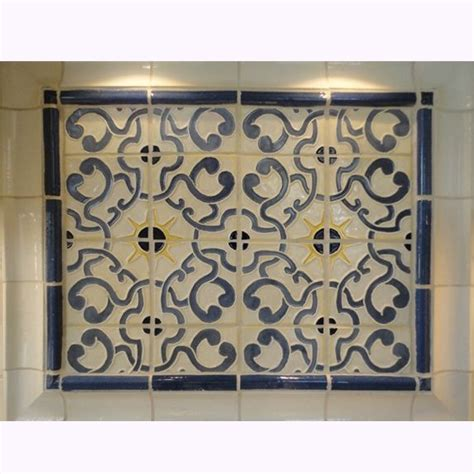 Kitchen Backsplash Centerpiece by Custom Stoneware Tile Backsplash With Blue Gold