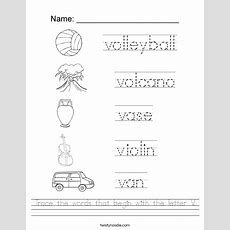 Trace The Words That Begin With The Letter V Worksheet  Twisty Noodle