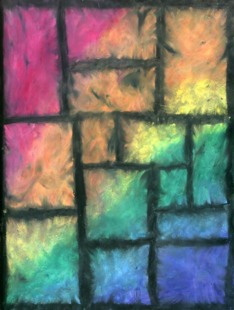 rainbow squares abstract oil pastel drawing media oil