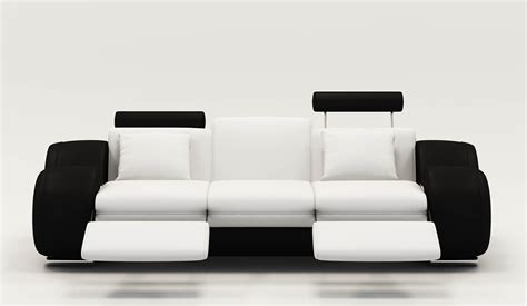 canape relaxation 3 places deco in canape design 3 places cuir blanc et noir